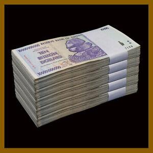 1 Dollar Cir 1//2 100 Trillion Zimbabwe 10 Trillion Dollars X 5 Pcs =