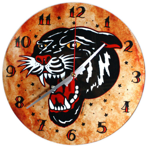 72013 Black Panther Sourpuss GLASS Wall Clock Traditional Sailor Tattoo Flash
