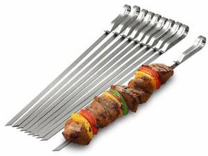 15PC SPRING LONG METAL BBQ BARBECUE KEBAB FOOD MEAT GRILL STICKS SKEWERS COOKING
