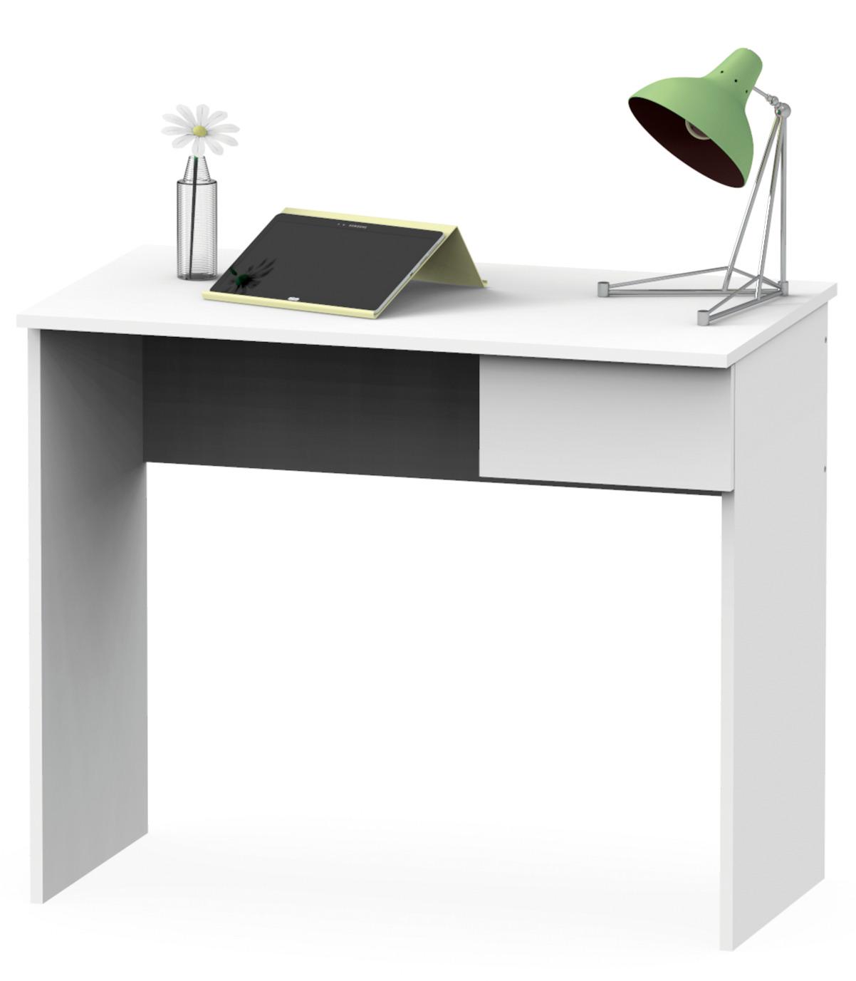 Mesa de ordenador escritorio juvenil con cajon color blanco mate estudio 90...