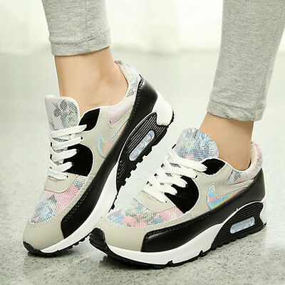 Fashion Womens Lace Up Floral Sneakers Casual Athletic Running Walking Shoes
