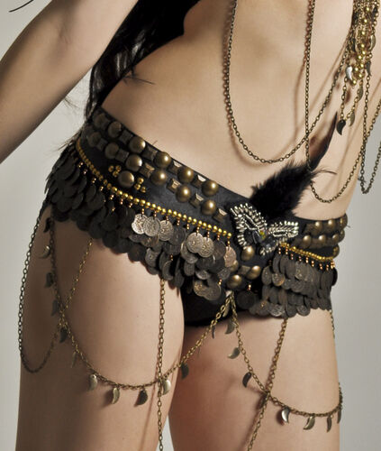 Professional Tribal Belly Dance Hip Belt with Feathers Sequins Coins S/M/L/XL