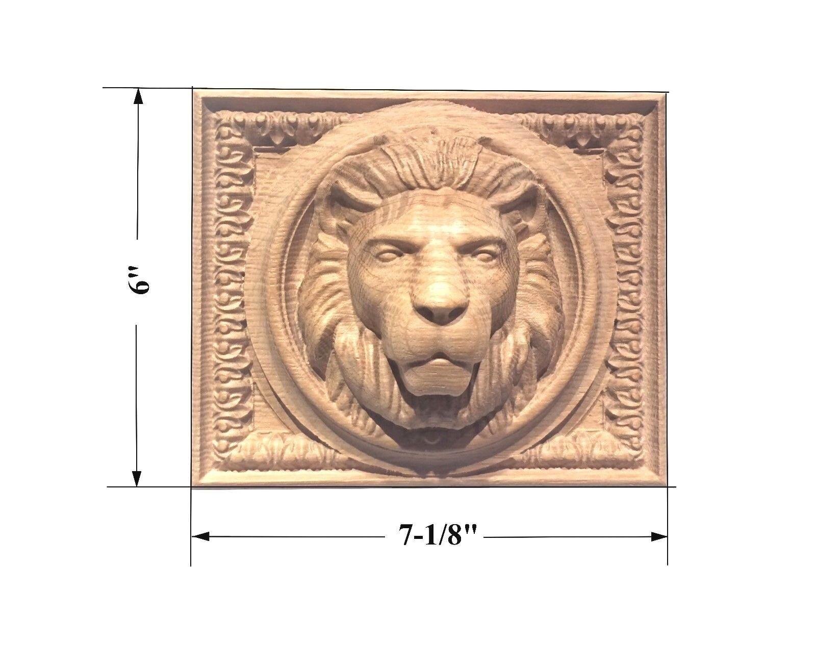 Lion Head Rectangular Rosette  Aplique 7-1 8  x 6  x 2-5 8 .  rouge Oak, Cherry...