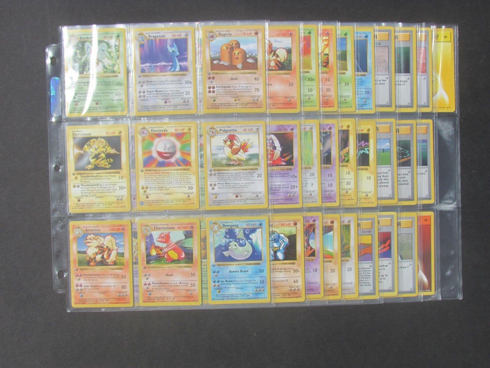 Pokemon COMPLETE 1ST EDITION BASE SET SET SET NON-HOLO CARDS - 86 Total - (EX) c8cb21