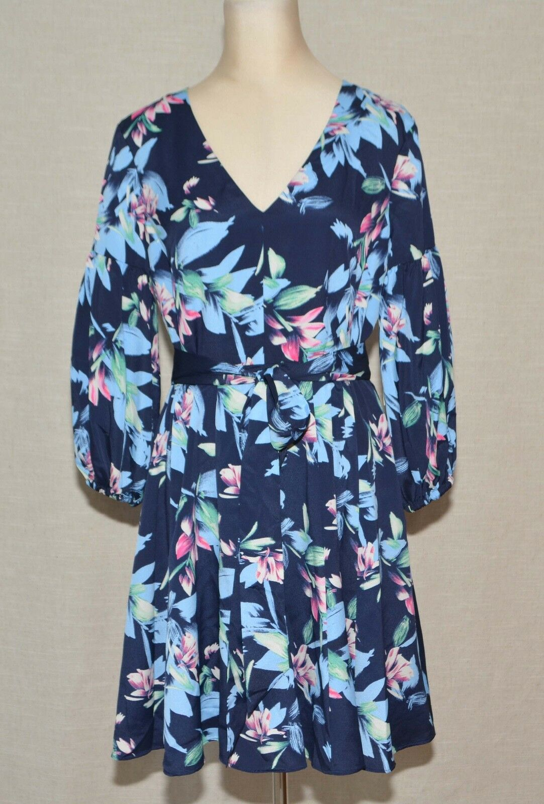 Eliza J Balloon Sleeve Fit & Flare Dress Navy Floral Petite 10 Fits M   NWT