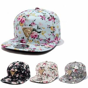 3fa866273a5 Floral Flower Snapback Men Women Hip-Hop Hat Flat Peaked Baseball ...