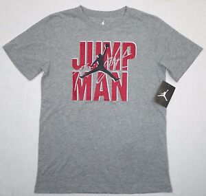 3dac54f4537f NWT NIKE AIR JORDAN Big Boys Short Sleeve JUMPMAN Tee Shirt Top Gray ...