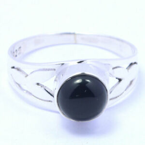 Solid-925-Sterling-Silver-Black-Onyx-Gemstone-Ring-Handmade-Jewelry-Any-Size