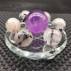 Natural-7-Star-Amethyst-amp-Black-Tourmaline-Quartz-Sphere-Ball-Healing-amp-3-1-034-Glass
