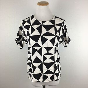 LOFT-Ann-Taylor-Women-039-s-Black-amp-White-Abstract-Short-Sleeve-Blouse-Size-Medium-P