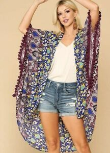 New-Gigio-By-Umgee-Kimono-M-Medium-Floral-Mixed-Print-Tassel-Trim-Boho-Peasant
