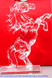 Clear-Crystal-Glass-Horse-Statue-Standing-Figure-Decor-15-CM-Gift-Box-Xmas-UK
