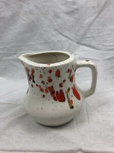 Vintage Bar Harbor Pottery Lava Glaze Pitcher White Orange Mid Century, 5 Inch