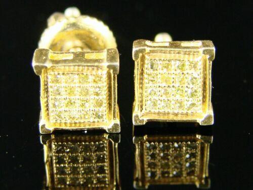NEW MENS//LADIES FULL CANARY 6MM DIAMOND STUD EARRINGS