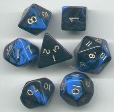 RPG Dice Set of 7 - Oblivion Blue D4 D6 D8 D10 D12 D20 D00-90