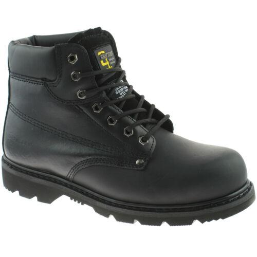 Homme Grafters Cuir Sécurité Travail Pointure UK 13-15 toe en acier noir m124a KD