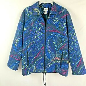 Chico-039-s-Women-039-s-Silk-quilted-Jacket-Size-0-Multi-color-print-zip-front