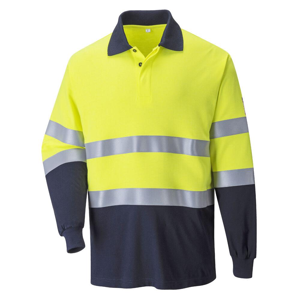 PortWest Men Flame Resistant Anti-Static Two Tone Polo Shirt FR74