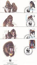 Monkeys Mandrill Rep De Guinea Ecuatorial 1991 WWF 4 Official First Day Covers