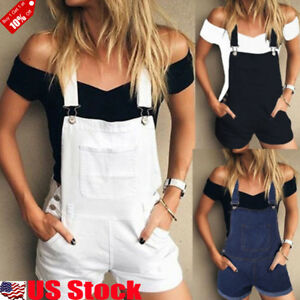 Women-Casual-Baggy-Denim-Jeans-Short-Pants-Pinafore-Dungaree-Overall-Jumpsuit-US