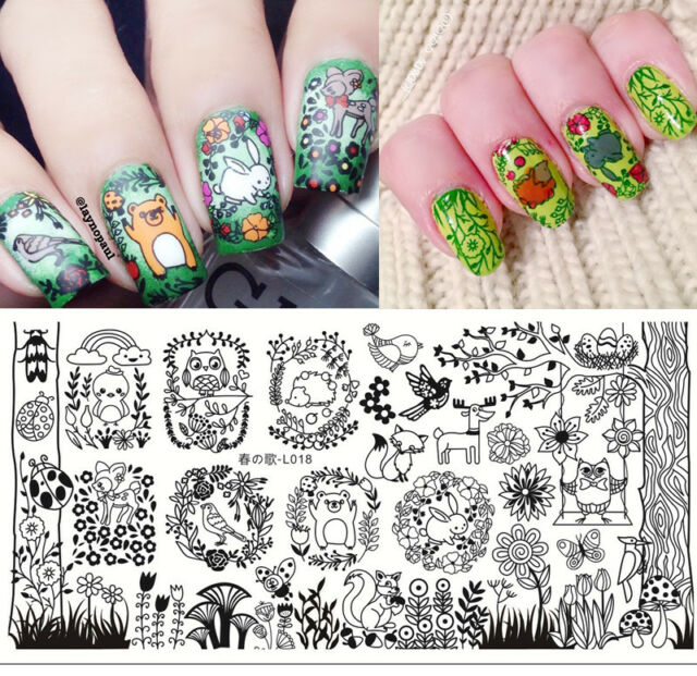 Nail Art Rectangle Stamp Image Plate Forest Animal Pattern Harunouta