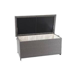 Poly-Rattan-Caja-de-Almacenaje-MCW-D88-Cojines-Premium-Gris-51x100x50cm-170l