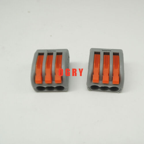50pcs 222-413 Universal Compact Wire Connector 3 pin Conductor Terminal Block