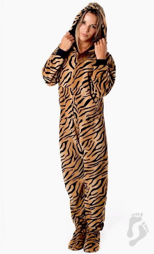 NWT Tiger Stripes Adult Hoodie Hooded Footed Pajamas 1 PC MP W Fit Sizes 20 22W