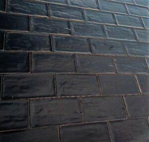Image Is Loading Wall Tiles Rustic Style Handmade Look Satin Black