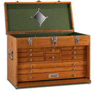 Gerstner-International-11-Drawer-24-034-Oak-Veneer-Tool-Hobby-Chest-Green-Felt-Liner