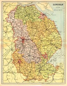 Map Of The County Of Lincoln England C1850 Ebay
