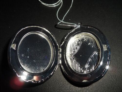 """SILVER PLATED VICTORIAN FLORAL GRANDMA OVAL LOCKET NECKLACE 26/"""""""