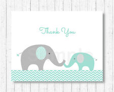 Mint Green & Grey Chevron Elephant Thank You Card Printable
