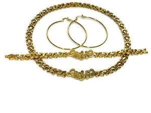 Hugs-amp-Kisses-I-Love-You-Necklace-14k-Gold-Stampato-Bracelet-18-034-XO-Earrings-Set