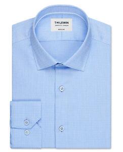 T-M-Lewin-para-hombres-Camisa-Azul-Brazalete-de-una-sola-Circulo-Dobby