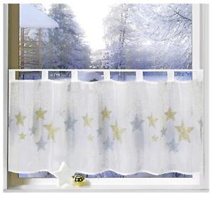 Scheibengardine-Weihnachten-Fenster-Dekoration-Sterne-Gold-Silber-Gardine-Typ651