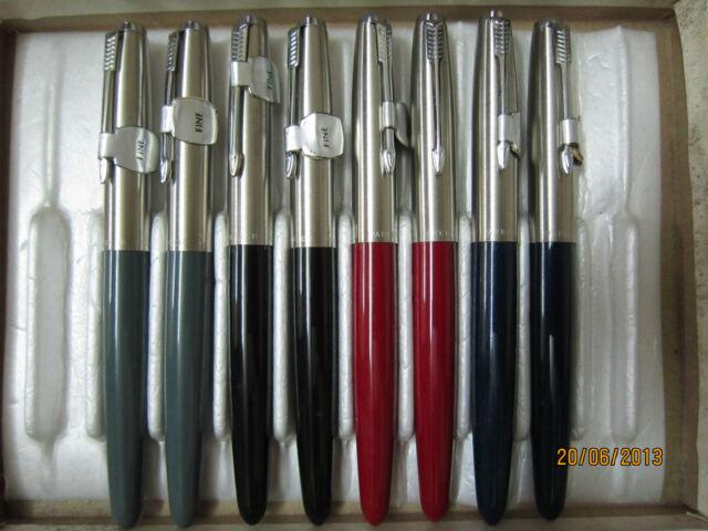 VINTAGE Parker Super 21 black,gray,red,blue fountain pen(fine Nib)from1970's NOS