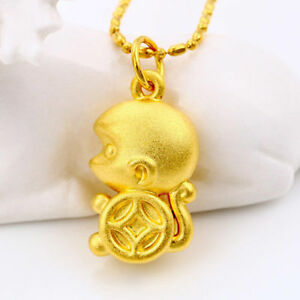 Lucky-Monkey-Pendant-Necklace-Chain-Unisex-24K-Yellow-gold-Filled-Jewelry-Gift
