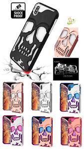 Phone-Case-For-Apple-iPhone-XR-SKULL-Skeleton-Hybrid-Armor-Rubber-Rugged-Cover
