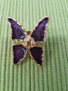 66381ef40a4 Image is loading YSL-vintage-purple-butterfly-pin-brooch