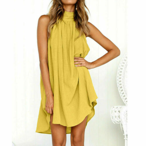 Chic Womens Holiday Irregular Halter Ladies Summer Beach Sleeveless Party Dress