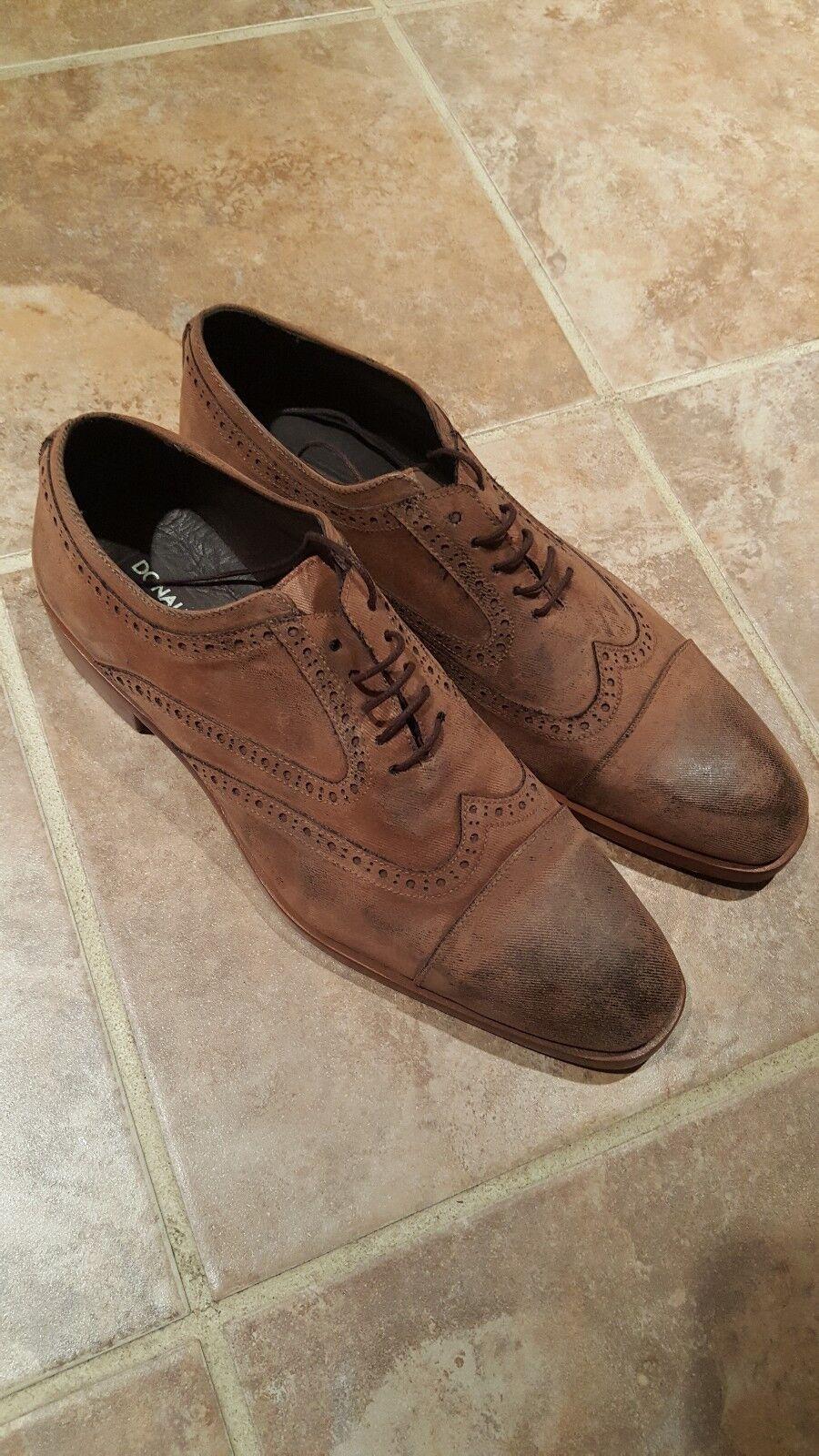 Men Donald Pliner TIE Up Leather Wing Tip shoes SIZE 9 M NWOB