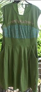 BlauTGESCHWISTER Sommer Kleid Shirtkleid ärmellos grün türkis Gr. XL  42 wie Neu