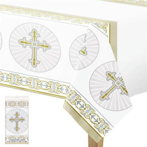 Confirmation en Plastique Table Housse Nappe Radiant Cross Design 54x84/'