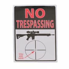 "NO TRESPASSING Rifle Crosshairs ""You Are Here"" Funny TIN SIGN Man Cave Decor"