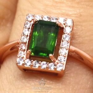 Genuine-Baguette-Colombian-Emerald-Ring-Women-Jewelry-Size-6-5-Rose-Gold-Plated