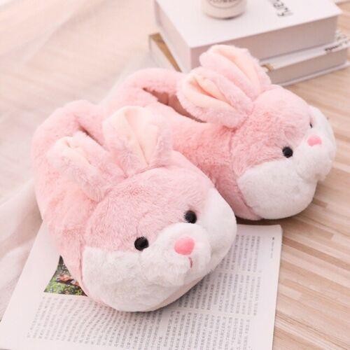 Indoor Slippers Winter Big Bunny Rabbit Women Warm Soft Plush Slip on Home Shoes