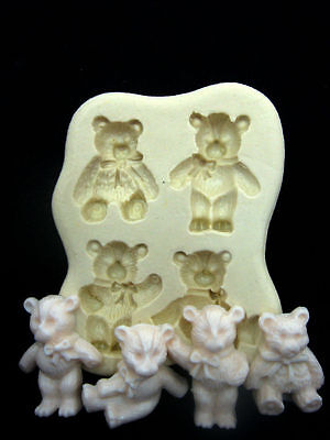 Cute Bears, Silicone Mold Chocolate Polymer Clay Jewelry Soap Melting Wax Resin