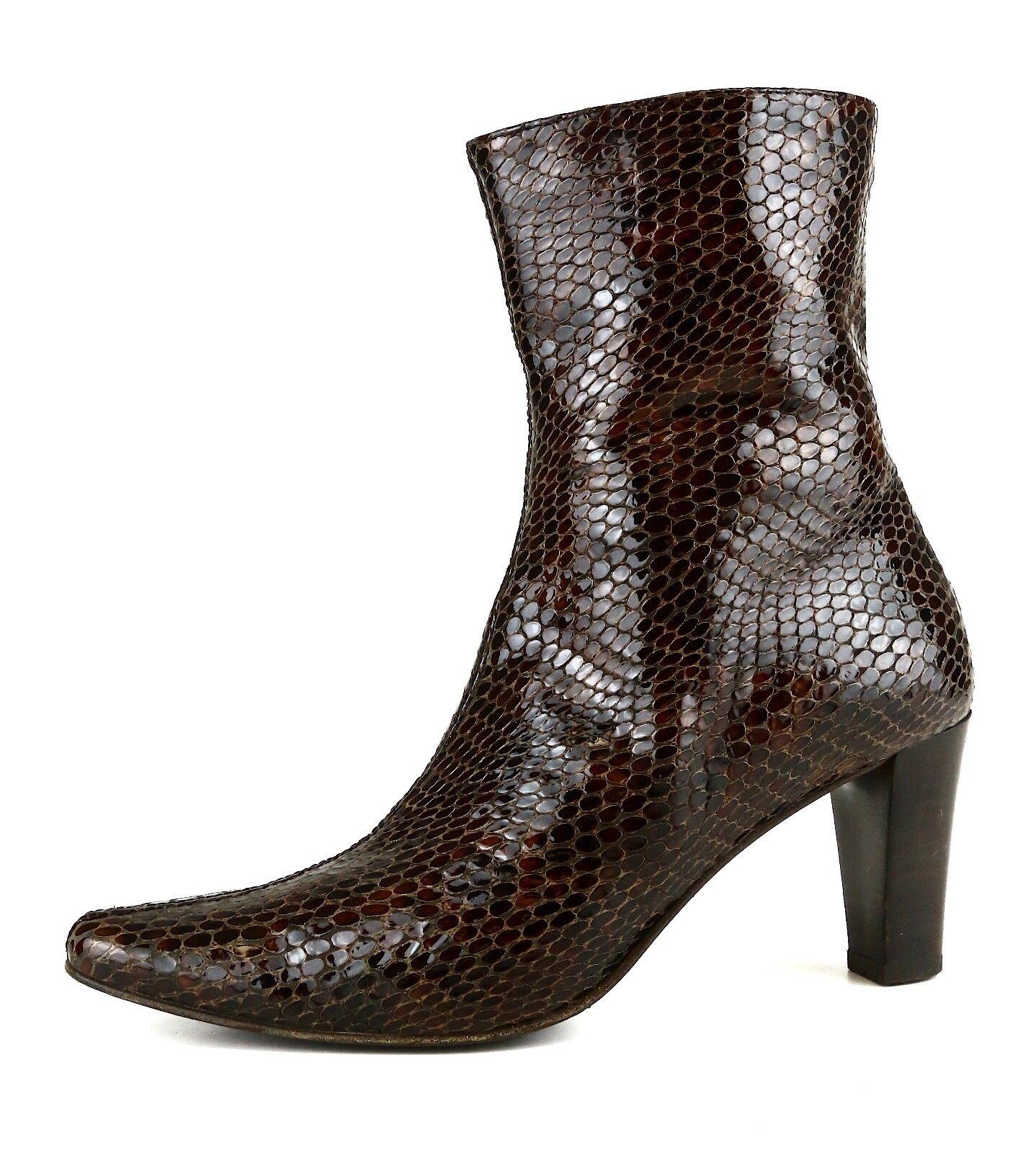 Aquatalia By Marvin K. Side Zip Leather Bootie Brown Women Sz 6 5642