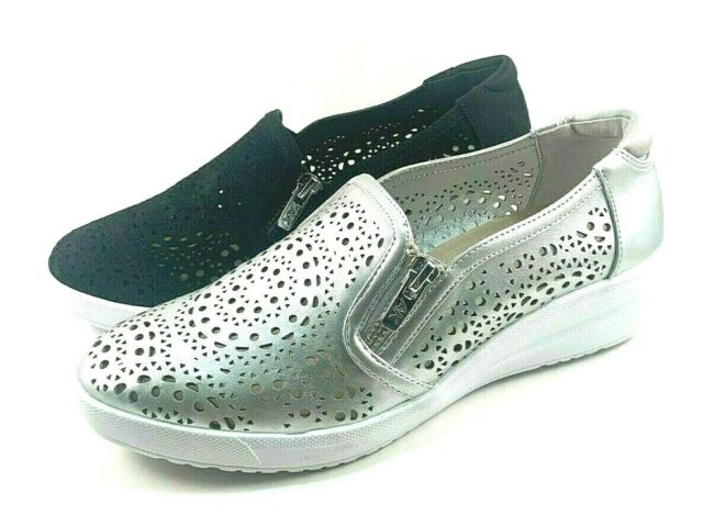 Anne Klein Sport Yvette Perforated Round Toe Wedge Slip On Shoes Choose Sz/Color